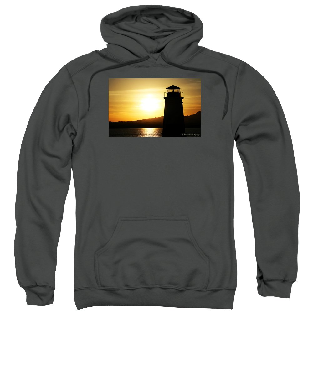 Sunset Sweatshirt featuring the photograph Lake Havasu Sunset Lighthouse by Charles Benavidez