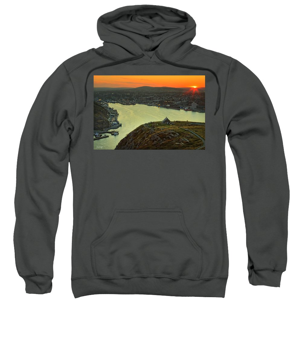 Canada Sweatshirt featuring the photograph Sunset On St. John's Harbour by Phill Doherty