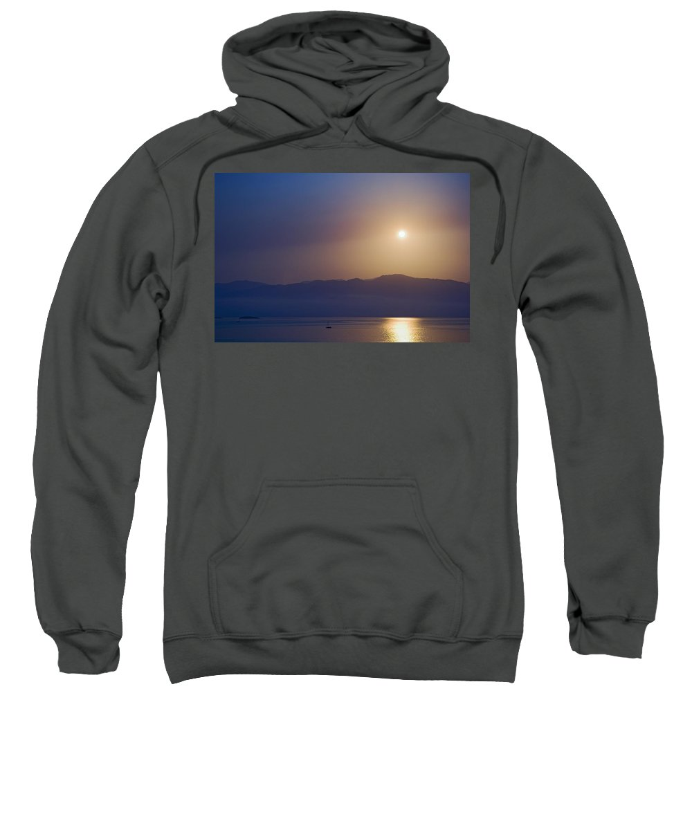 Beauty In Nature Sweatshirt featuring the photograph Sunset Over Some Of The Ionian Islands by Axiom Photographic