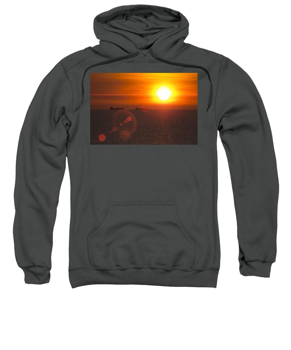 Supertanker Sunset Sweatshirt featuring the photograph Supertanker Sunset by Douglas Barnard