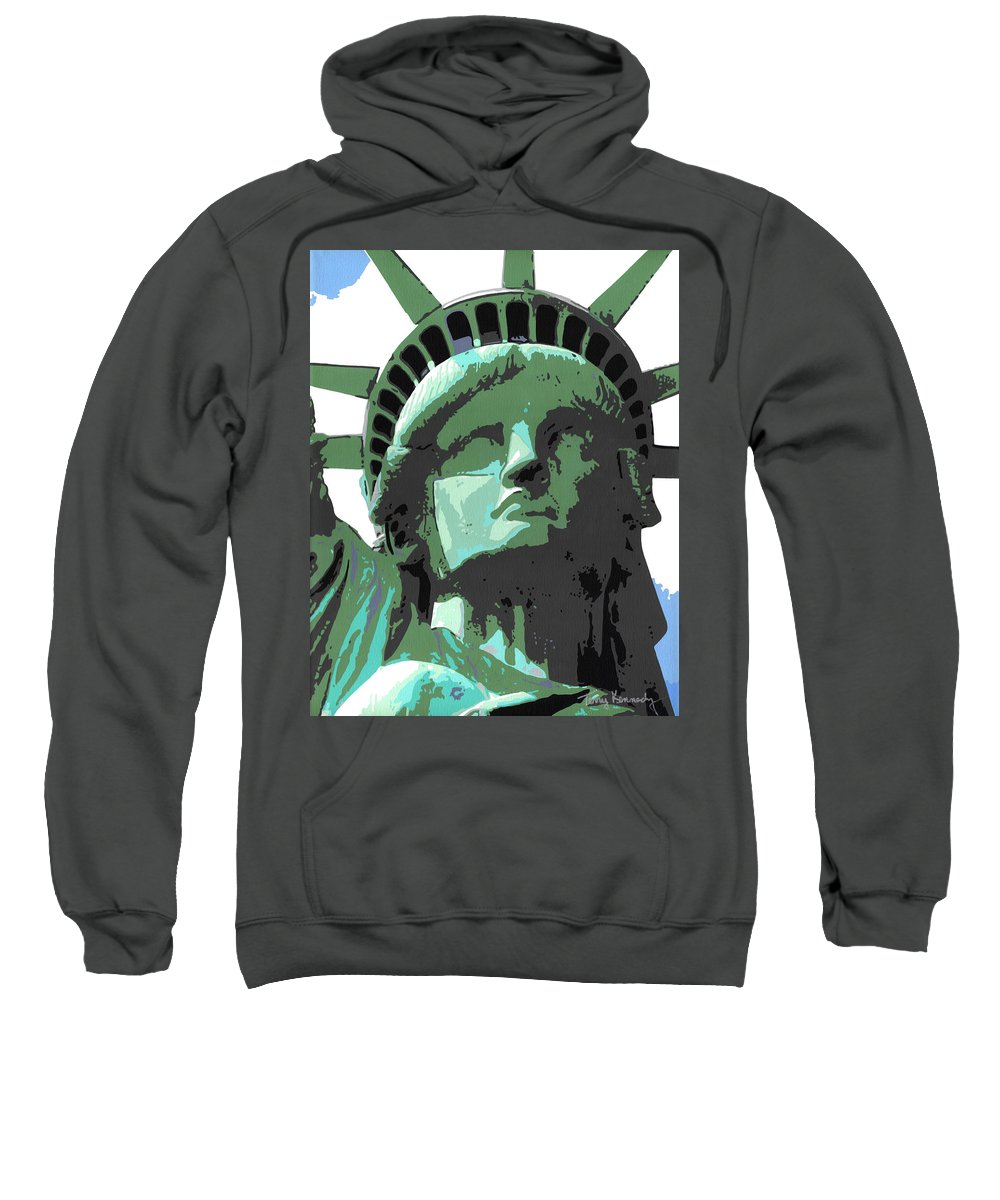 Statue Of Liberty Sweatshirt featuring the painting Sweet Liberty by Terry Kennedy