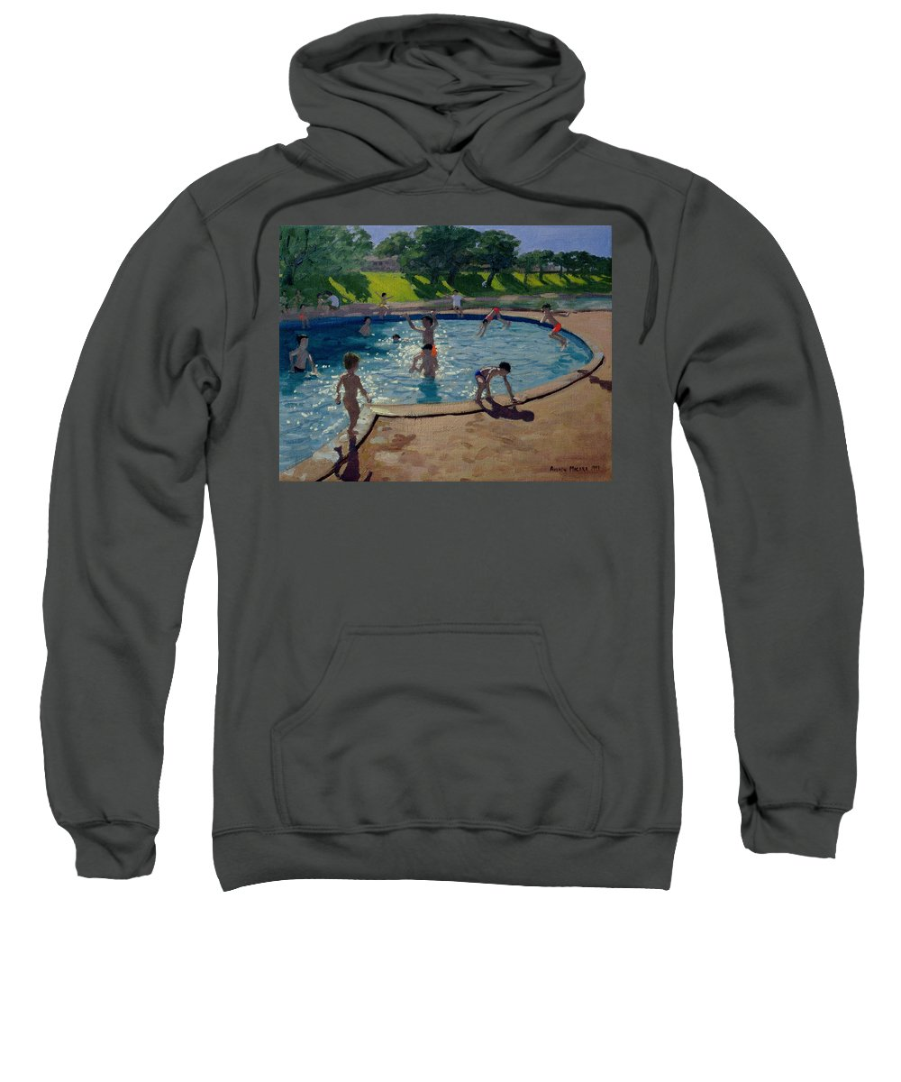 Summer Sweatshirt featuring the painting Swimming Pool by Andrew Macara
