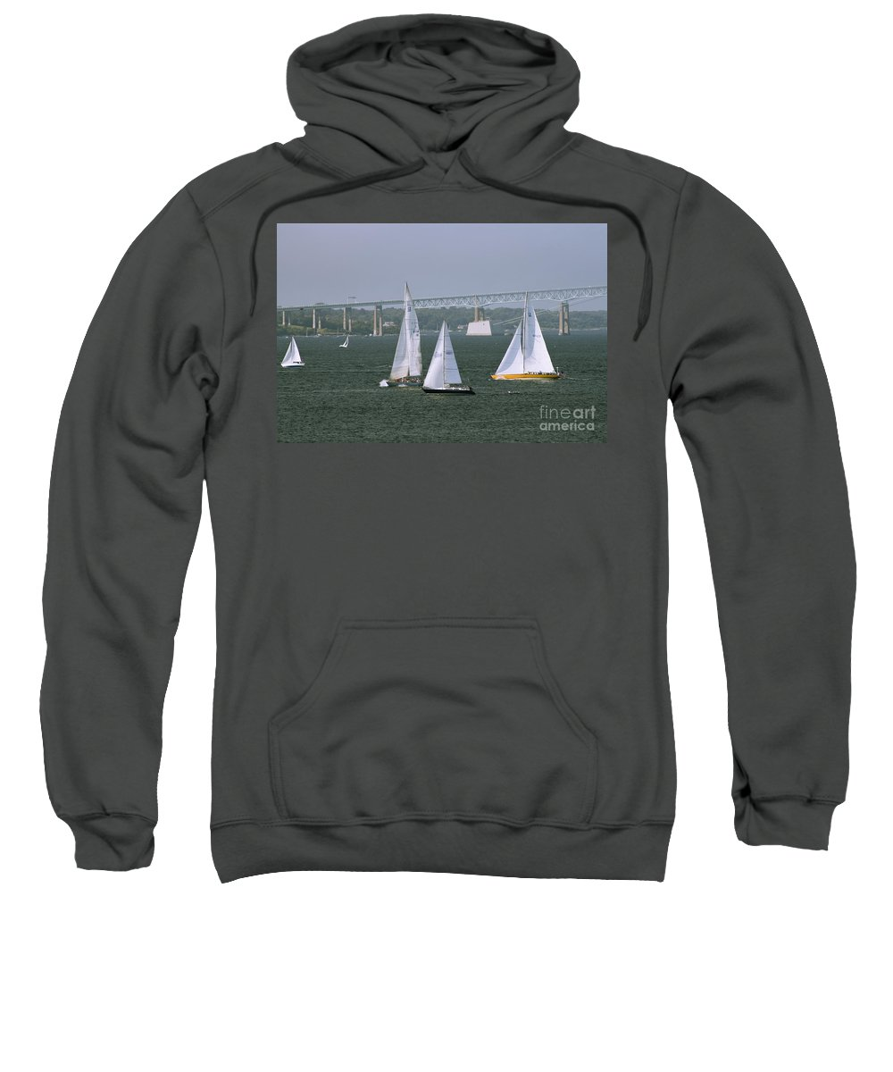 Sailboats Sweatshirt featuring the photograph Tacking In Newport by Tim Mulina