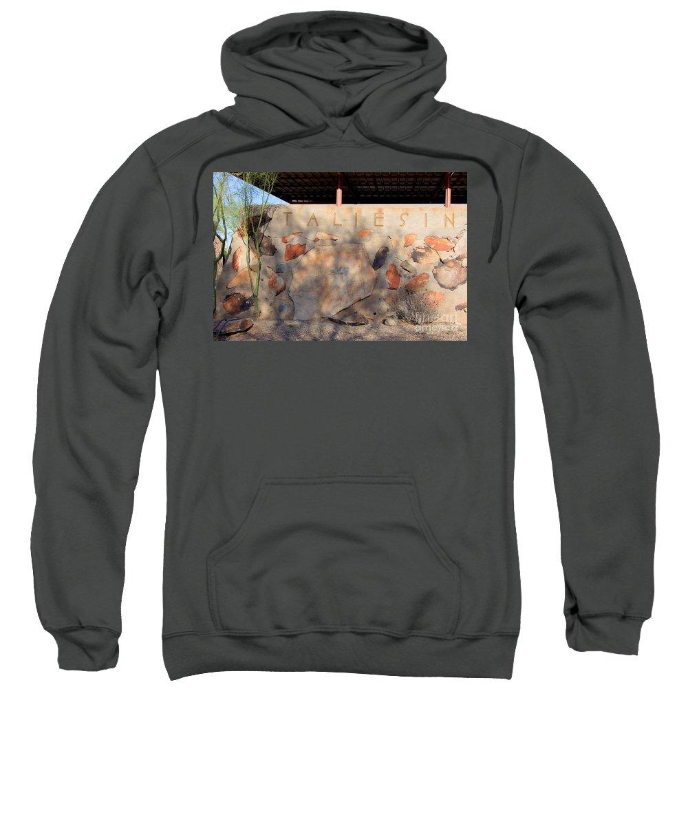 Arizona Sweatshirt featuring the photograph Taliesin Entry - Arizona by Mary Deal