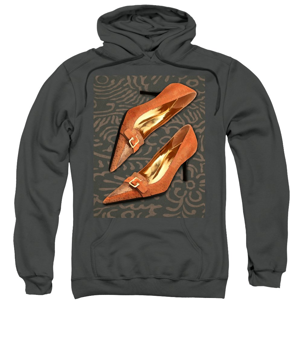 Shoes Heels Pumps Fashion Designer Feet Foot Shoe Stilettos Painting Paintings Illustration Illustrations Sketch Sketches Drawing Drawings Pump Stiletto Fetish Designer Fashion Boot Boots Footwear Sandal Sandals High+heels High+heel Women's+shoes Graphic Sophisticated Elegant Modern Sweatshirt featuring the painting Tan Ostrich With Golden Buckles by Elaine Plesser