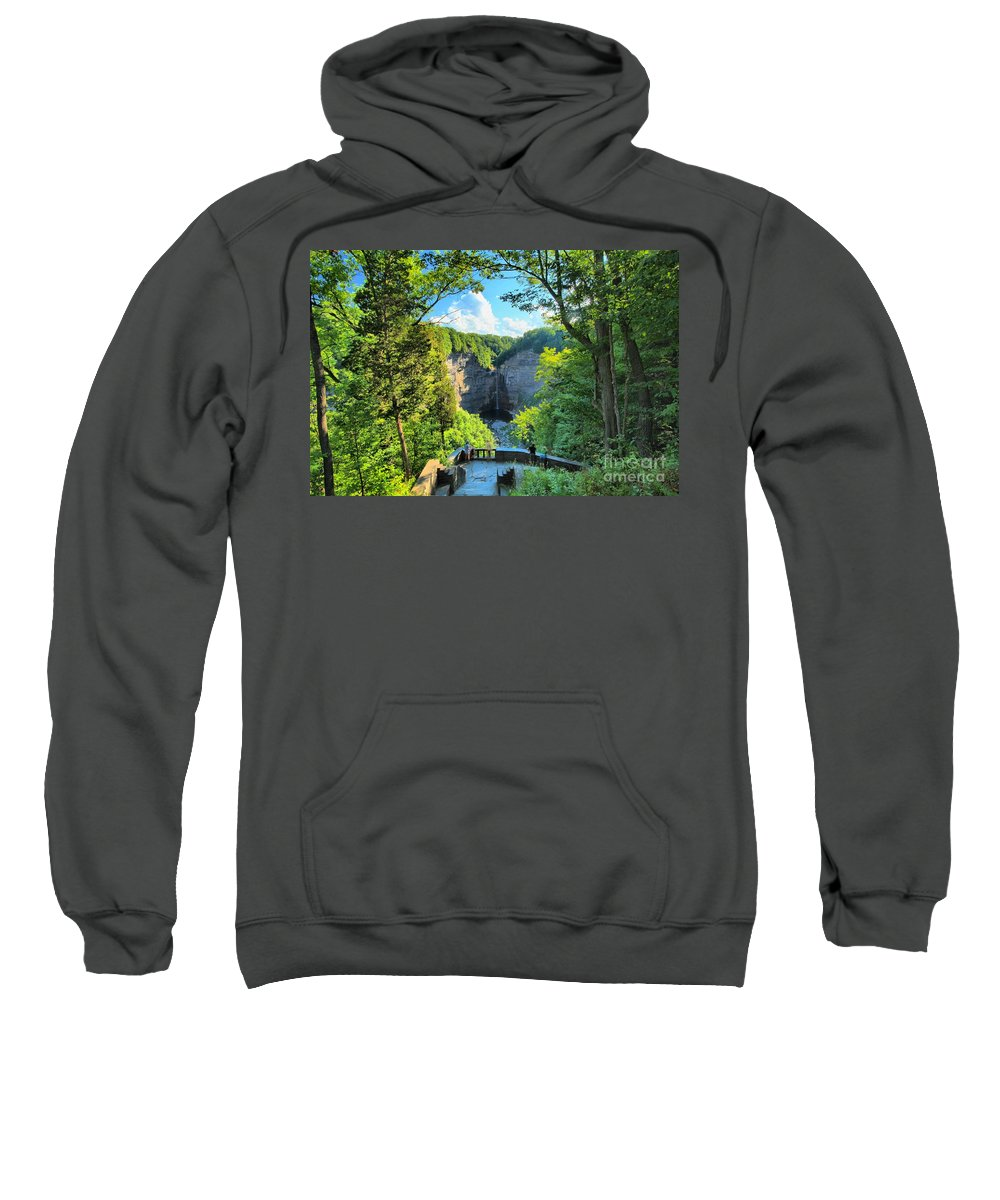 Taughannock Falls State Park Sweatshirt featuring the photograph Taughannock Falls Overlook by Adam Jewell