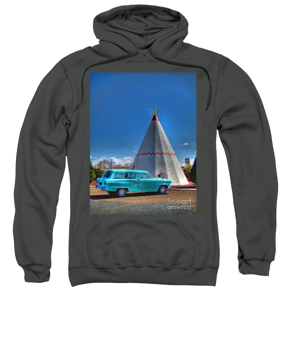 Wigwam Motel Sweatshirt featuring the photograph Teepee On Route 66 by Tommy Anderson