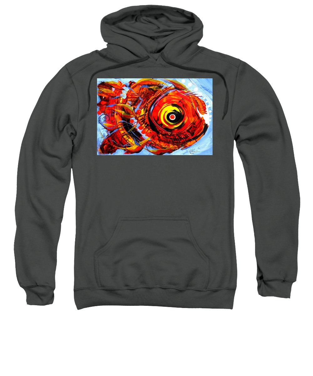 Fish Sweatshirt featuring the painting Textured Red Fish by J Vincent Scarpace