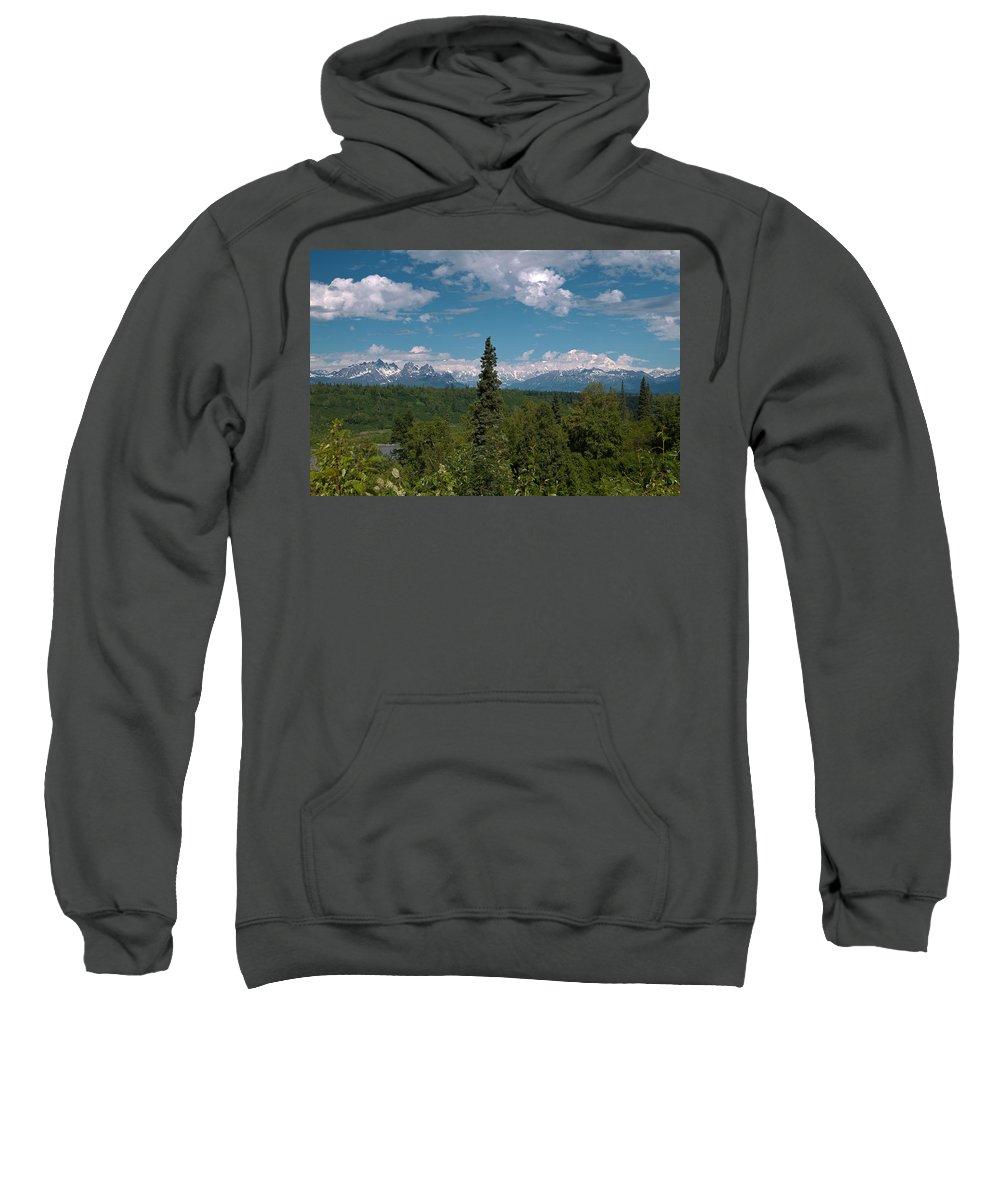The Alaska Range Sweatshirt featuring the photograph The Alaska Range by Wes and Dotty Weber