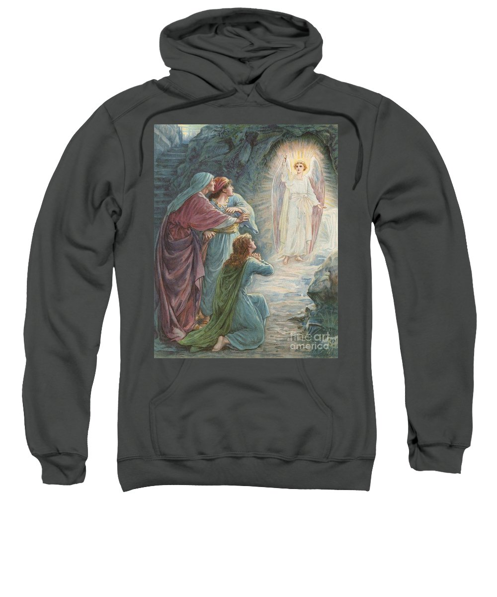 Bible Stories; Biblical; The Appearance Of The Angel Jesus Christ; Resurrection Sweatshirt featuring the painting The Appearance Of The Angel by Ambrose Dudley