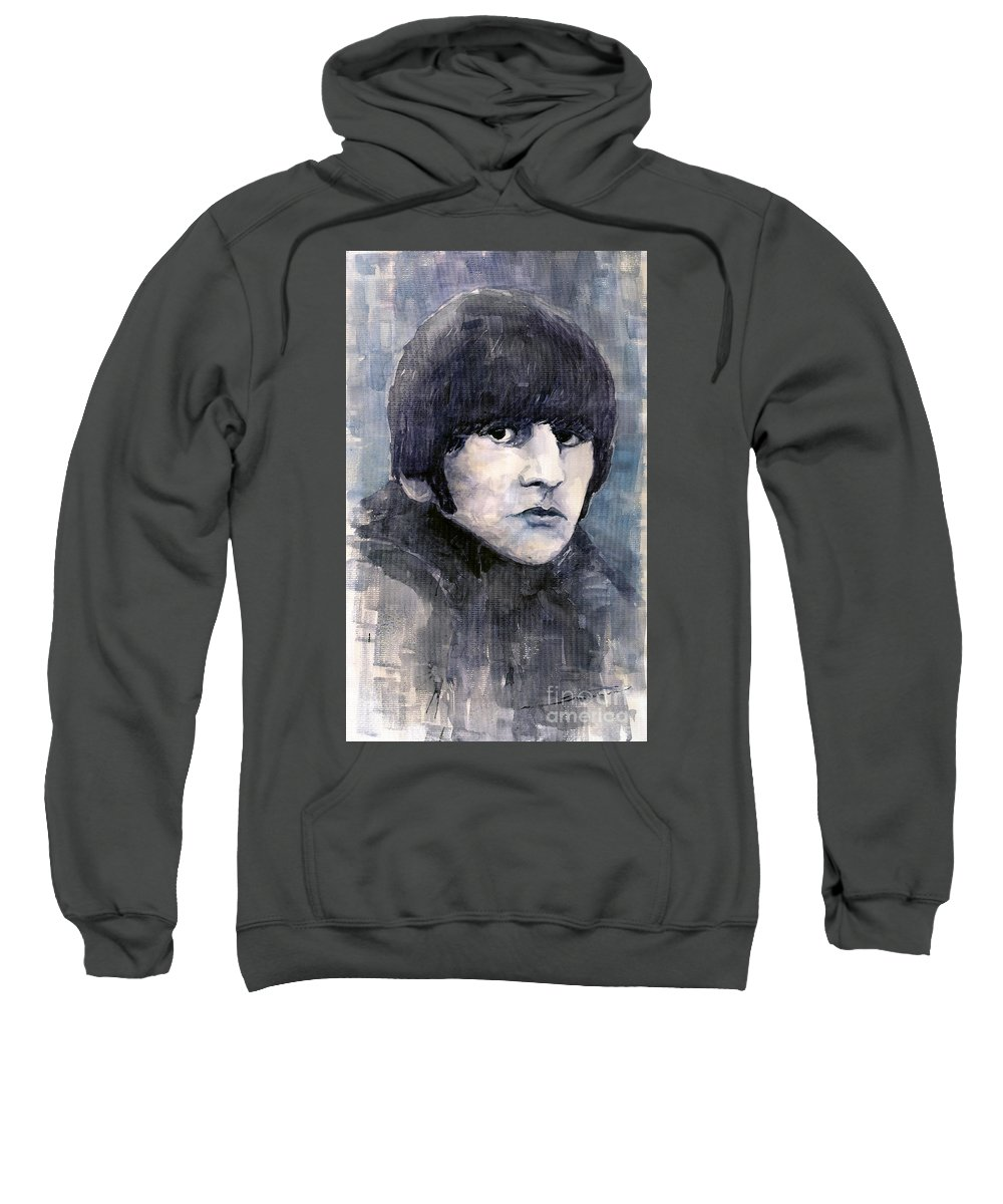 Watercolor Sweatshirt featuring the painting The Beatles Ringo Starr by Yuriy Shevchuk