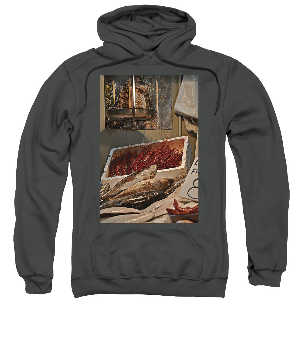 The Blessed Fish Market Sweatshirt featuring the photograph The Blessed Fish Market by Mary Machare