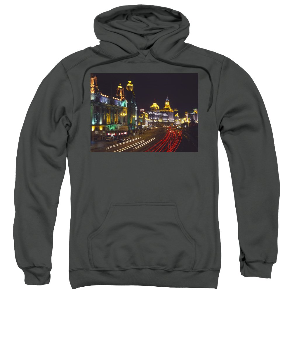 Urban Sweatshirt featuring the photograph The Bund At Night by Axiom Photographic