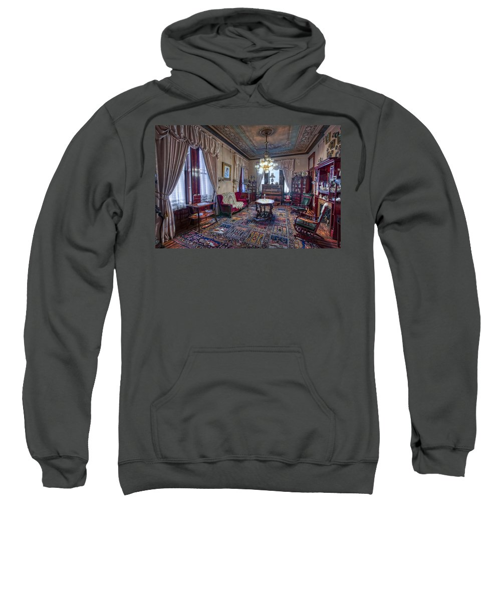 copper King Sweatshirt featuring the photograph The Copper King's Music Room - Butte Montana by Daniel Hagerman