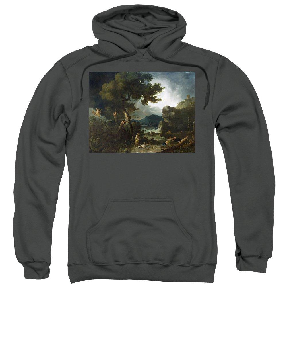 The Destruction Niobe Children Sweatshirt featuring the painting The Destruction Of Niobe's Children by Richard Wilson