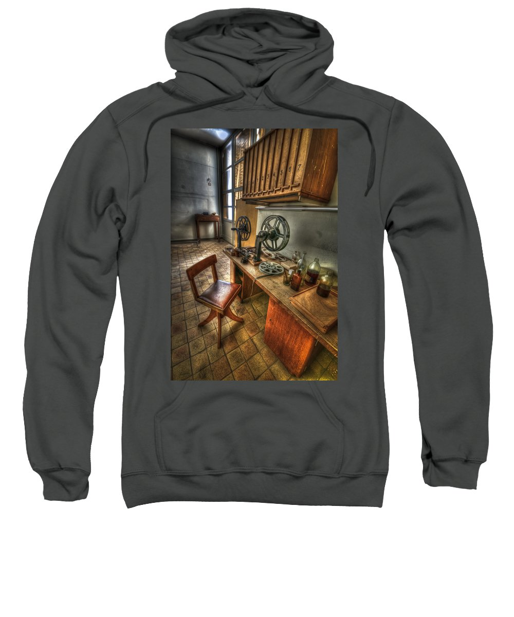 Abandoned Sweatshirt featuring the photograph The Editor Just Left by Nathan Wright