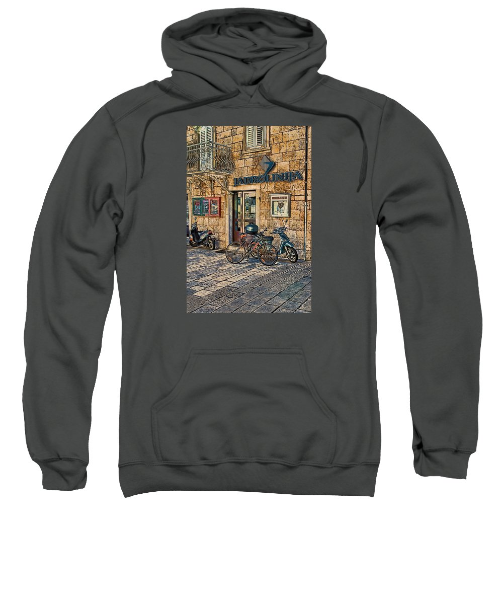 Croatia Sweatshirt featuring the photograph The Ferry Ticket Office Corfu Croatia by Tom Prendergast