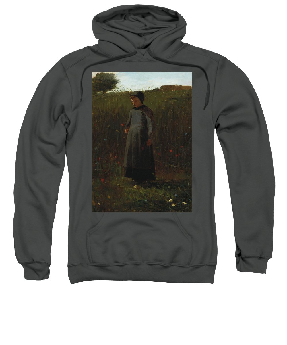 The Flowers Of The Field (oil On Canvas) By Winslow Homer (1836-1910) Female; Girl; Picking; Wild; Landscape; Rural; Poppies; Poppy; Flower Sweatshirt featuring the painting The Flowers Of The Field by Winslow Homer