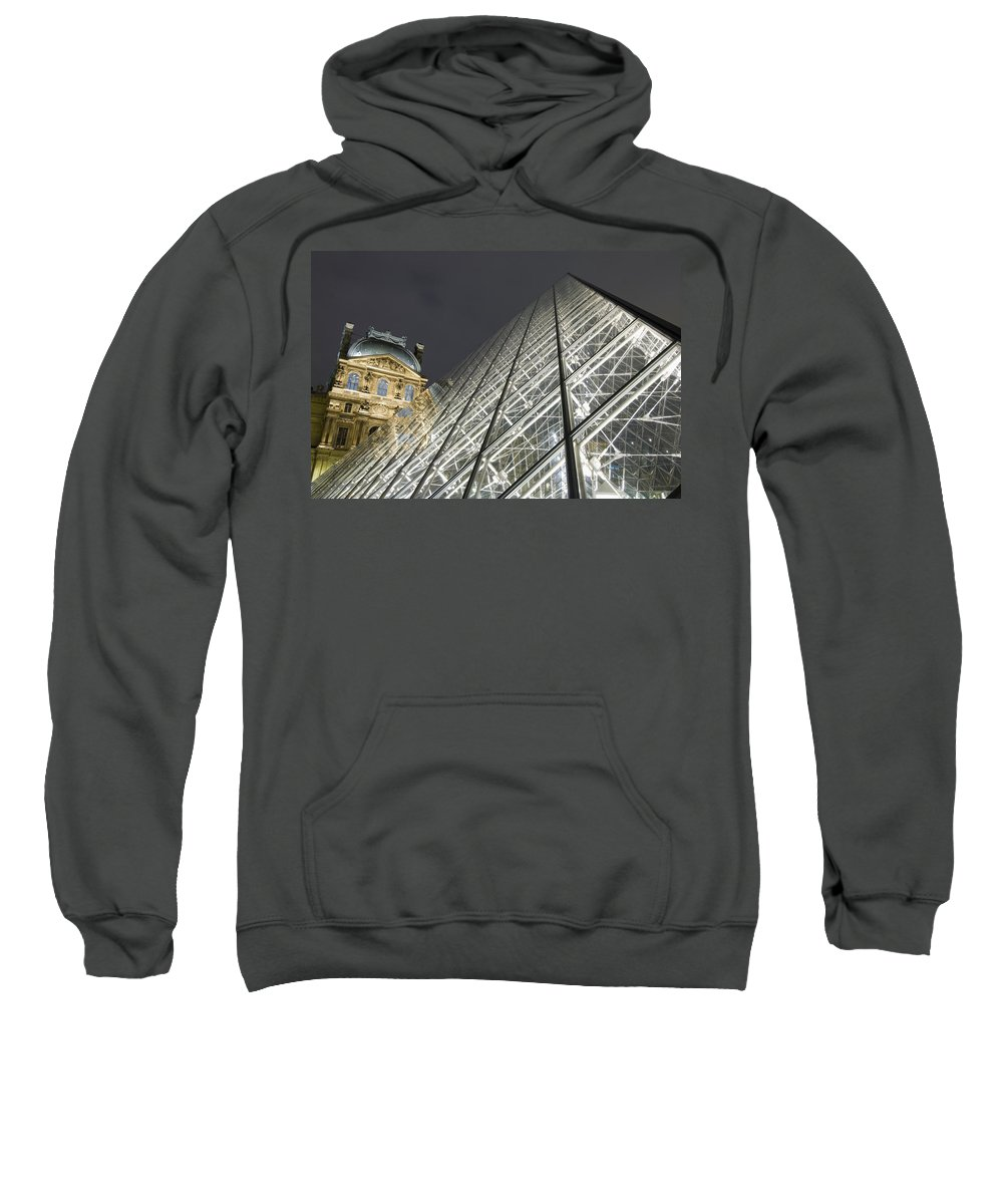 Capital Cities Sweatshirt featuring the photograph The Glass Pyramid And The Louvre At Dusk by Axiom Photographic