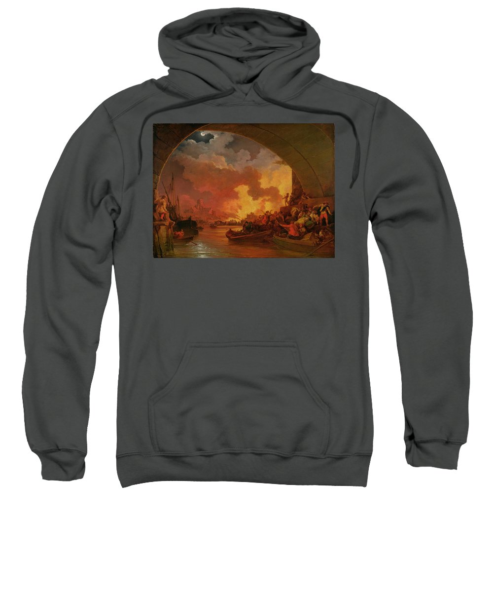 Xyc238428 Sweatshirt featuring the photograph The Great Fire Of London by Philip James de Loutherbourg