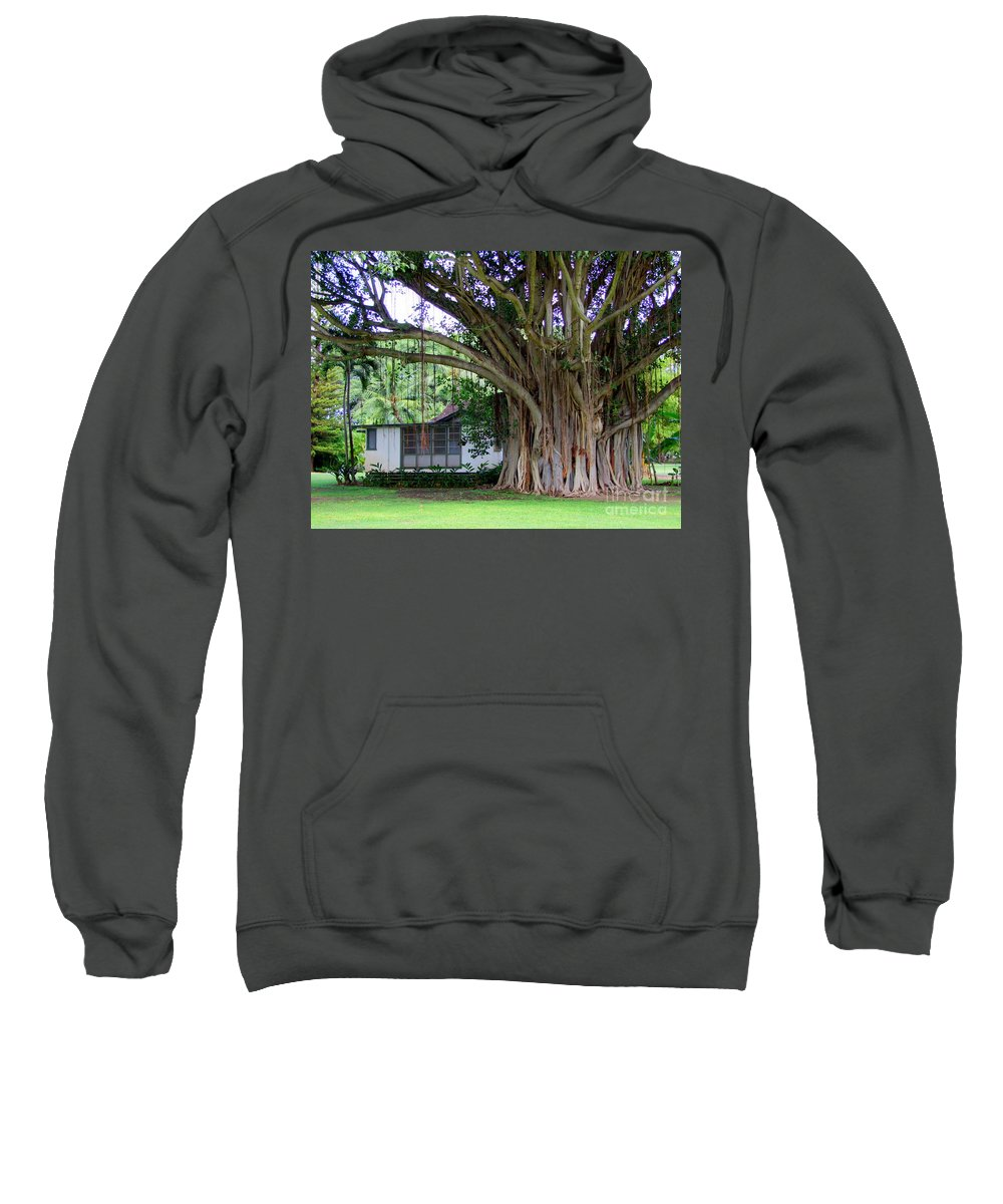 House Sweatshirt featuring the photograph The House Beside The Banyan Tree by Mary Deal