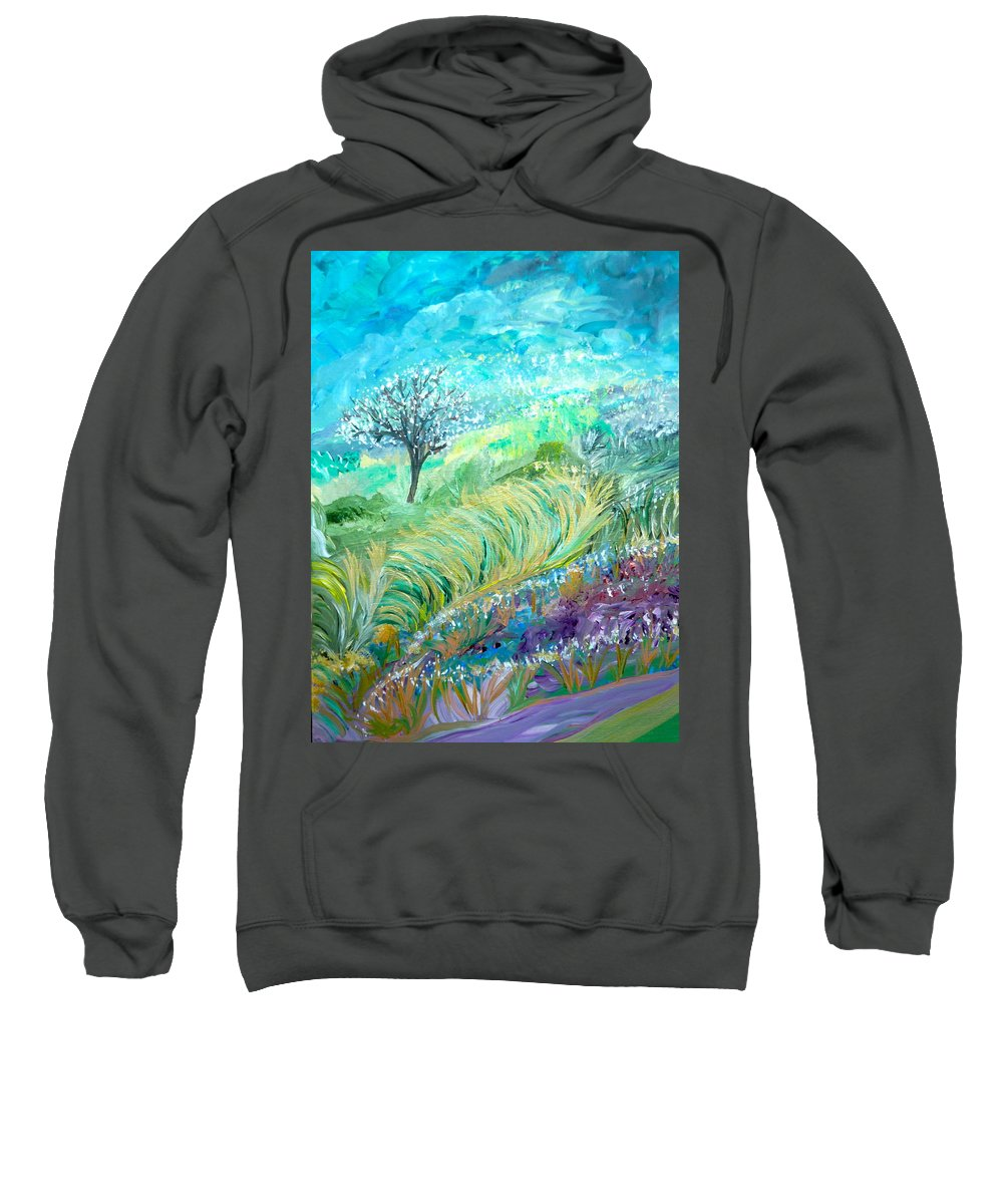 Whimsical Landscape Sweatshirt featuring the painting The In-between Hour by Sara Credito