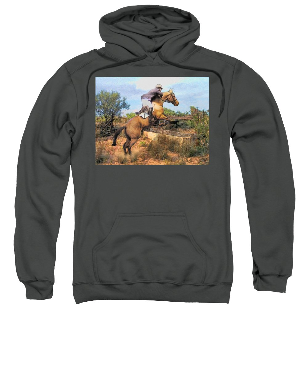 Horses Sweatshirt featuring the painting The Jumper by Tom Schmidt