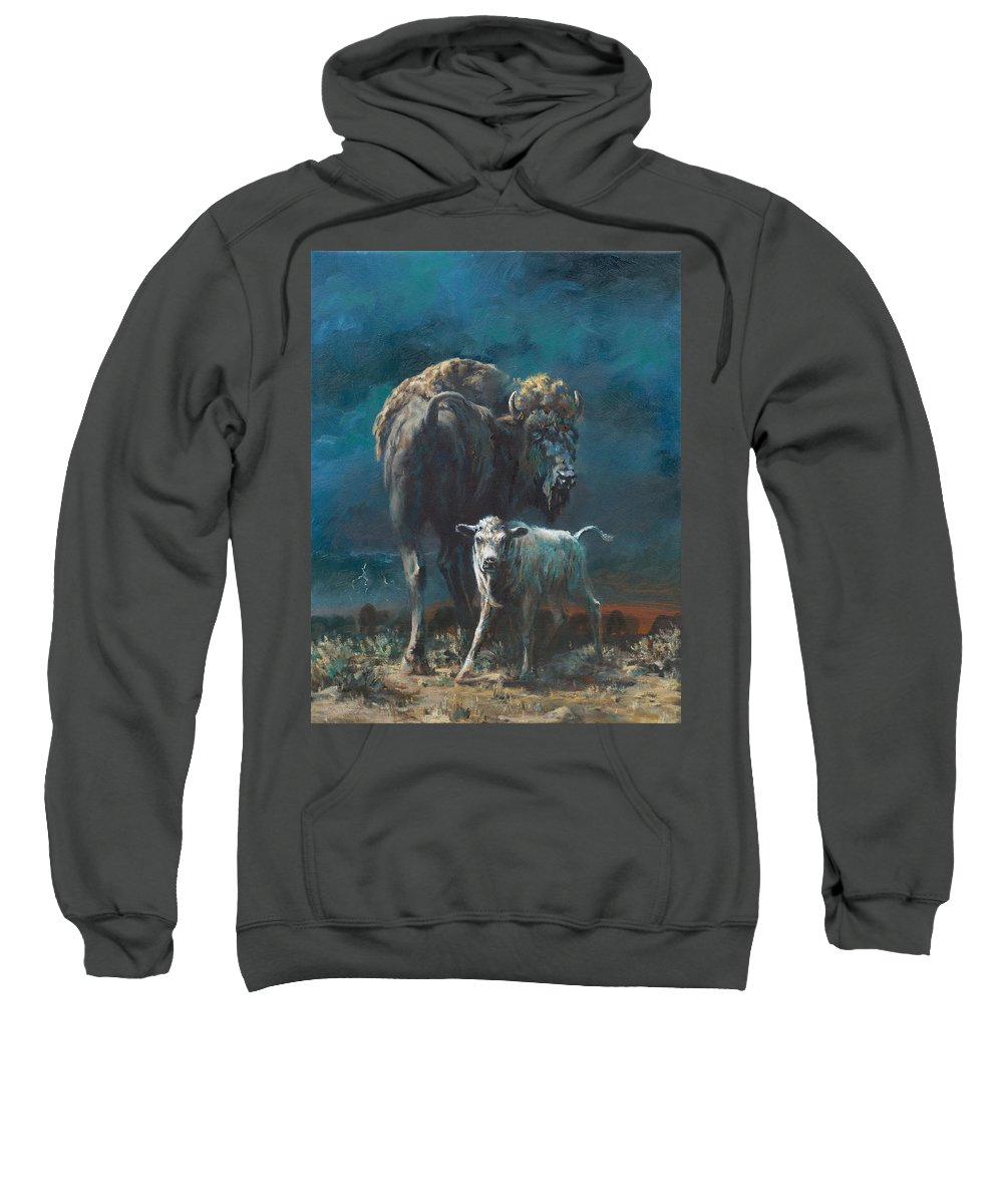 Buffalo Sweatshirt featuring the painting The Legend Begins by Mia DeLode