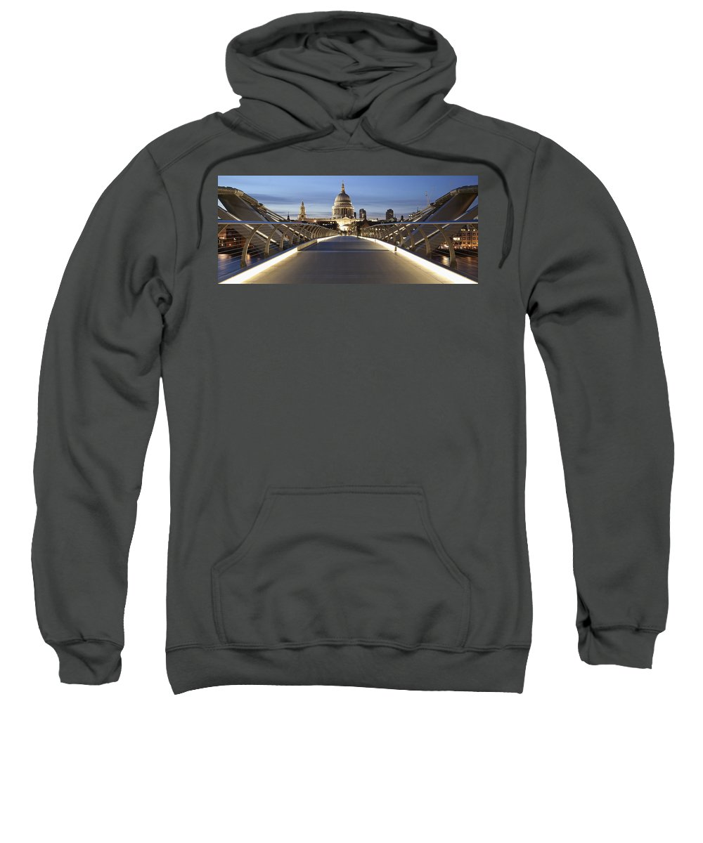 Greater London Sweatshirt featuring the photograph The Millennium Bridge Looking North by Axiom Photographic