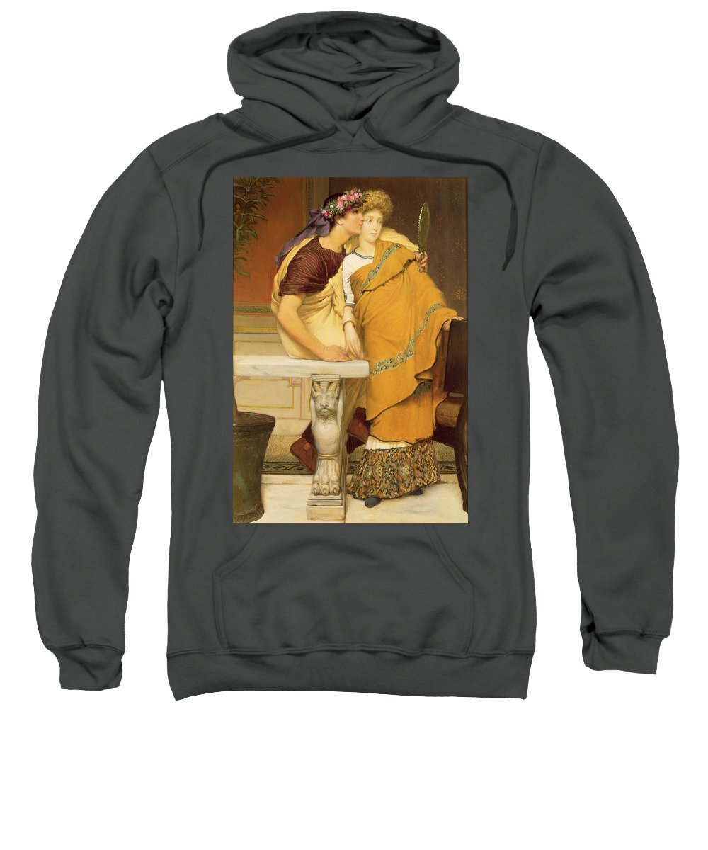 The Sweatshirt featuring the painting The Mirror by Sir Lawrence Alma-Tadema