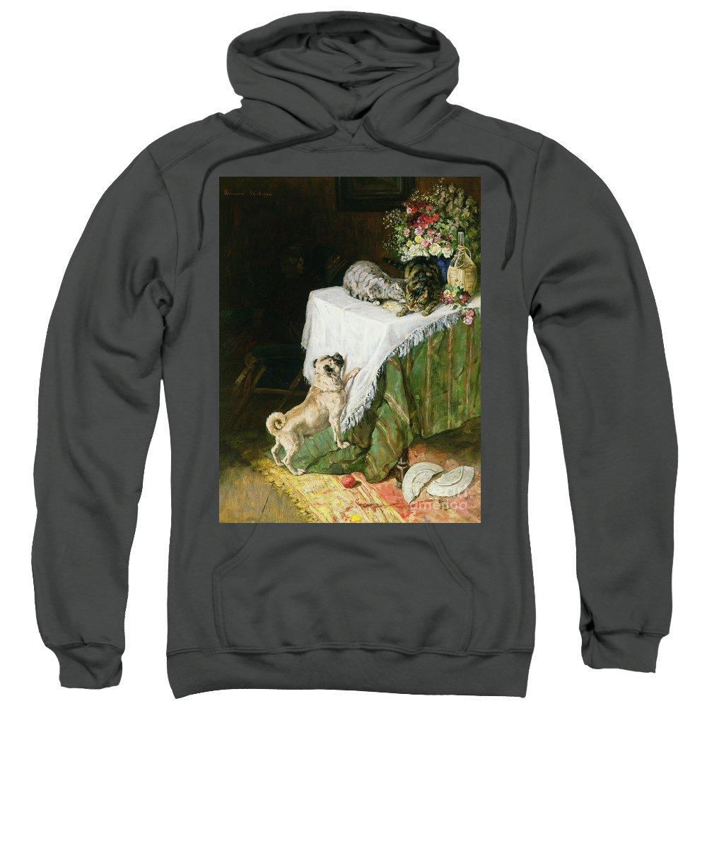 The Mischievous Tabbies Sweatshirt featuring the painting The Mischievous Tabbies by Clemence Nielssen