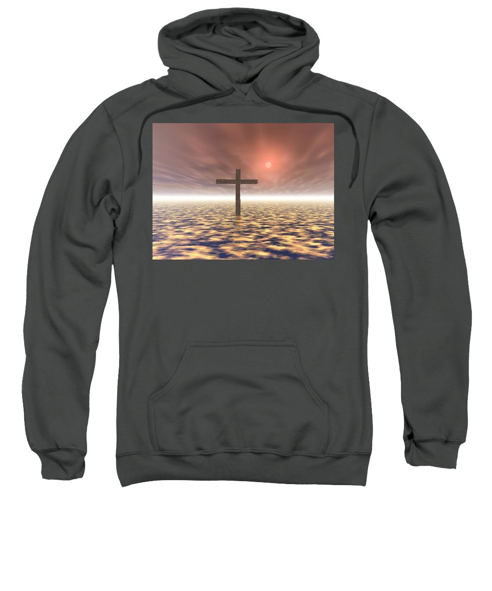 Outdoors Sweatshirt featuring the photograph The Mystery Of The Cross by Paul Sale Vern Hoffman