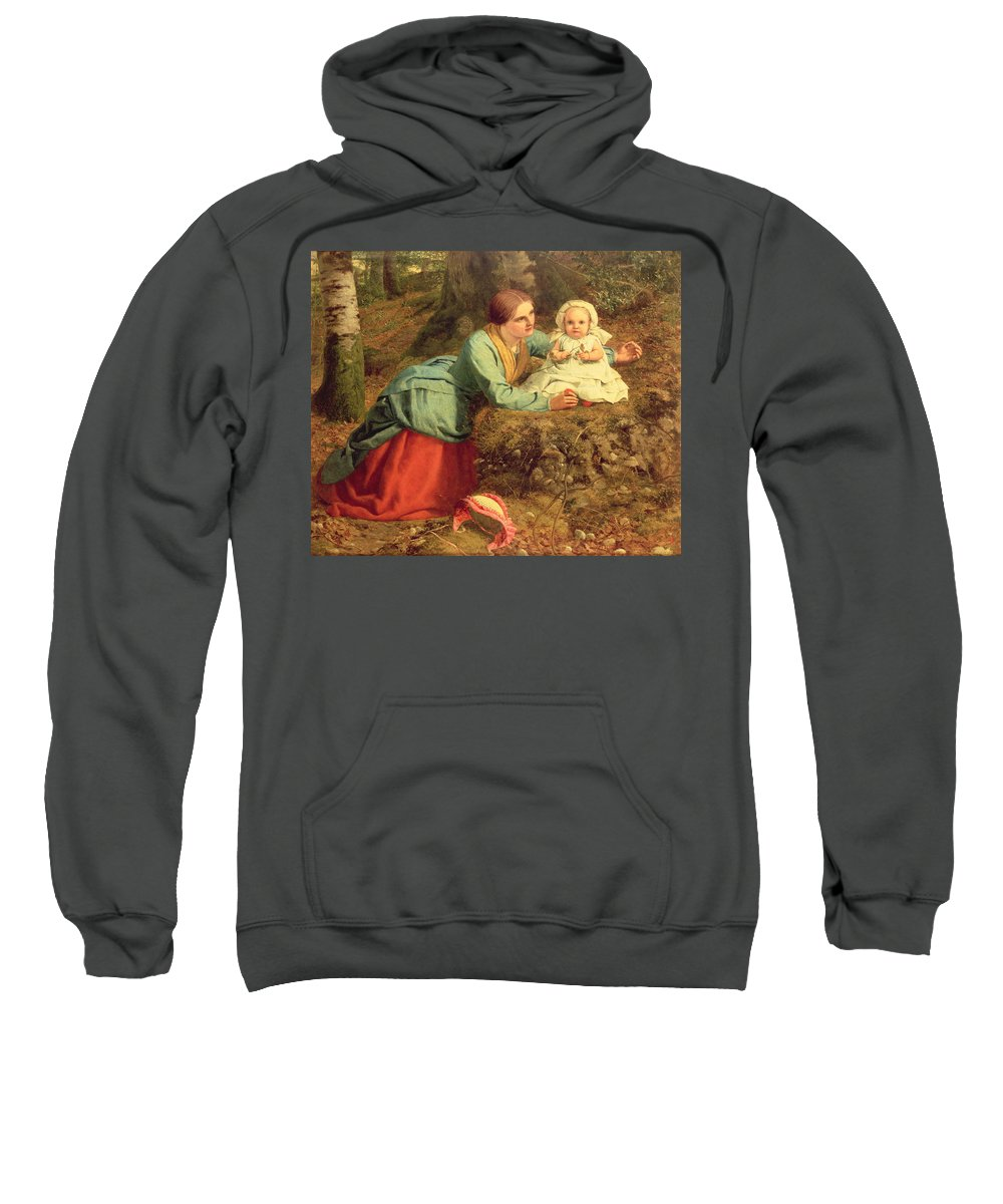 Mother And Child; Bonnet; Happy Hours; Victorian; Autumn Sweatshirt featuring the painting The Path Where The Brown Leaves Are Spread by Frederick Richard Pickersgill