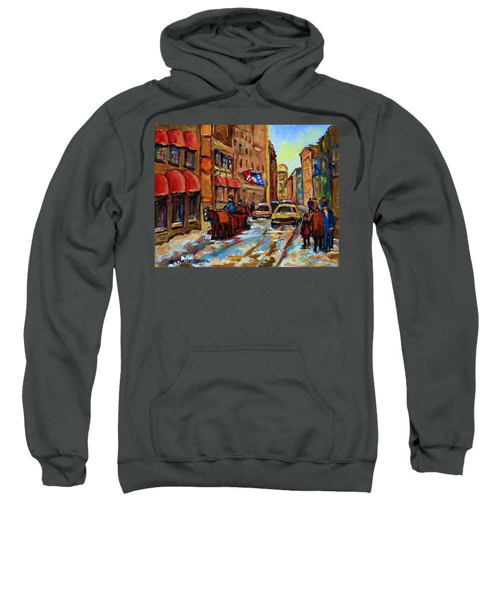 Horses Sweatshirt featuring the painting The Red Sled by Carole Spandau