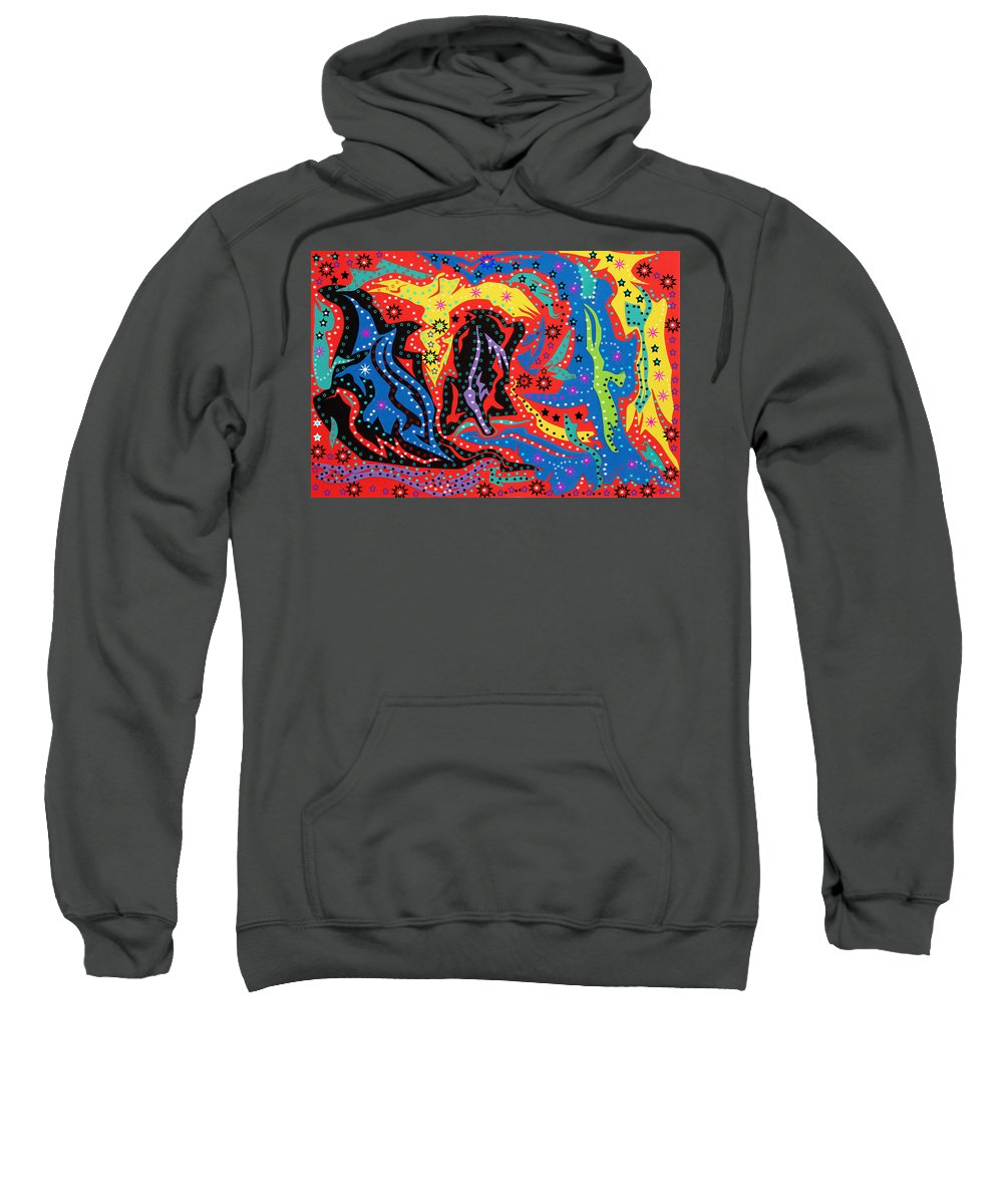 Abstract Art Sweatshirt featuring the mixed media The Stars At Night by Robert Margetts