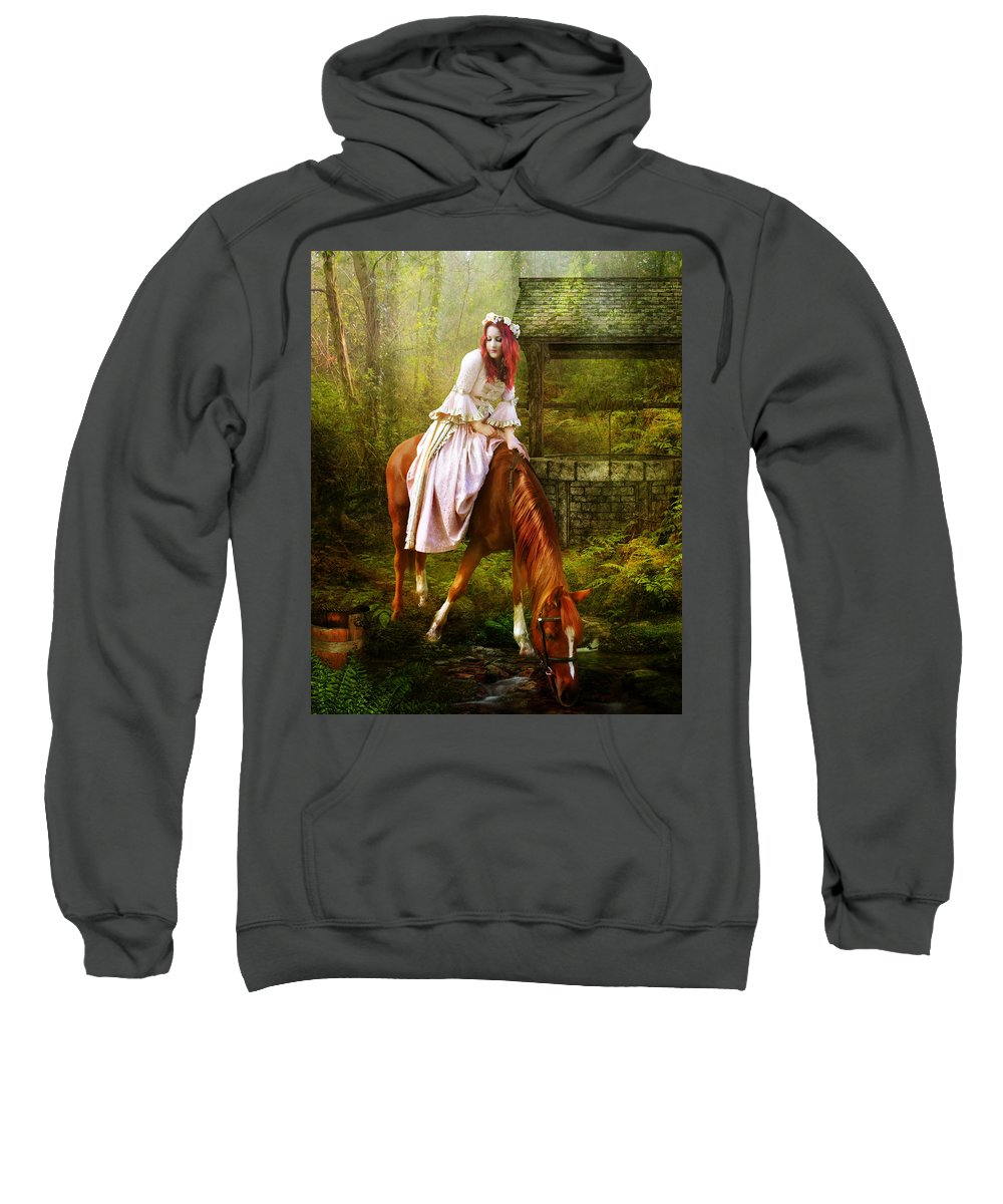 Horse Sweatshirt featuring the digital art The Waterhole by Karen Koski
