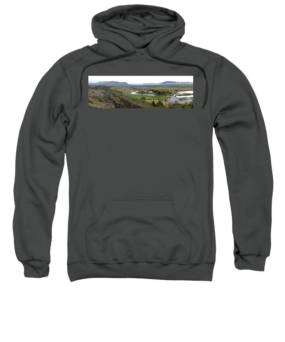 Iceland Sweatshirt featuring the photograph Thingvellir Valley by Greg Dimijian