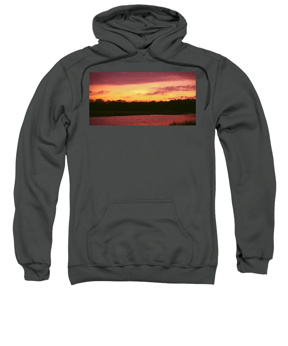 Tomoka River Sweatshirt featuring the photograph Tomoka River Sunset by DigiArt Diaries by Vicky B Fuller