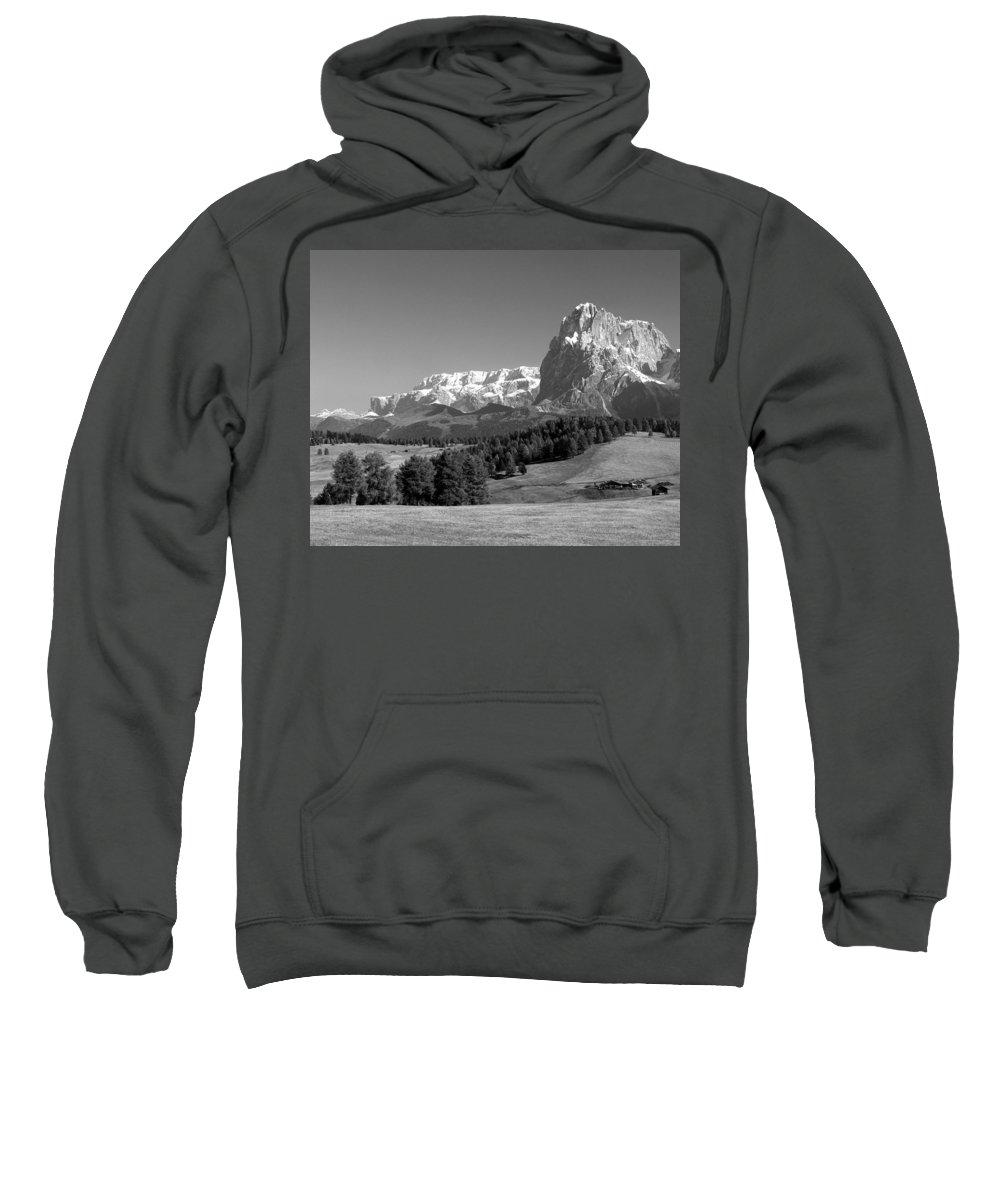 Alpi Di Siusi Sweatshirt featuring the photograph Treeline Across Alpi Di Siusi In The Dolomites by Greg Matchick