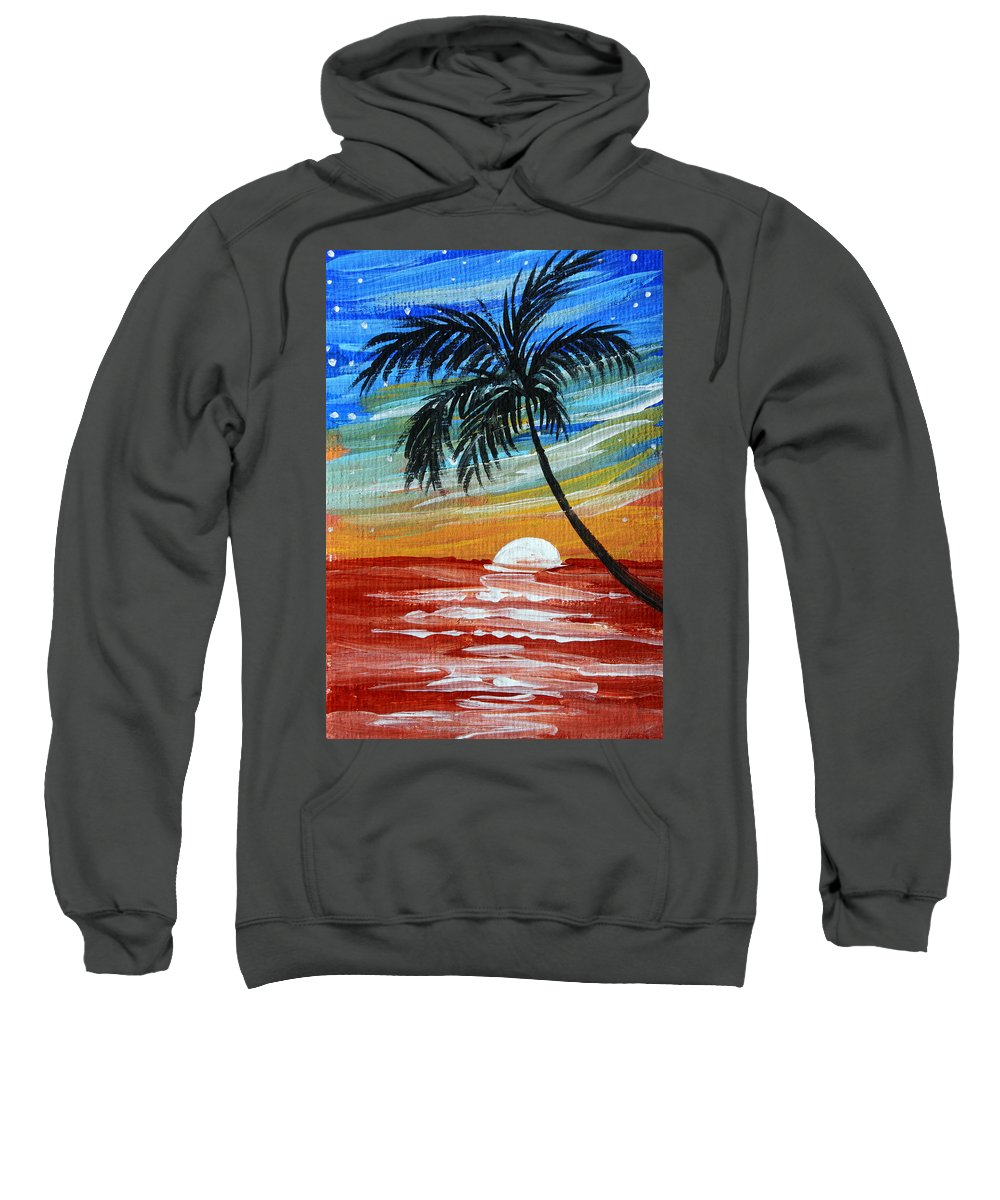 Abstract Sweatshirt featuring the painting Tropical Abstract Palm Tree Original Plumeria Flower Painting Sinking Below By Madart by Megan Duncanson
