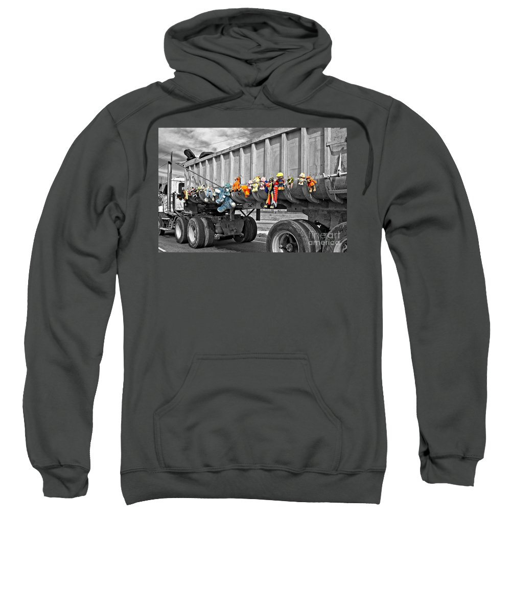 Dump Truck Sweatshirt featuring the photograph Truck And Dolls With Selective Coloring by Kathleen K Parker