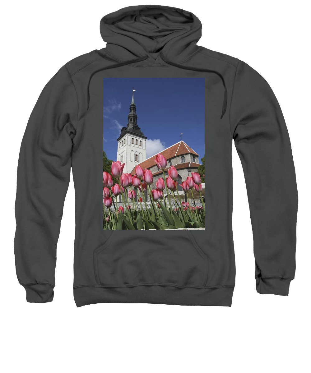 Photography Sweatshirt featuring the photograph Tulips Outside Niguliste Church by Axiom Photographic