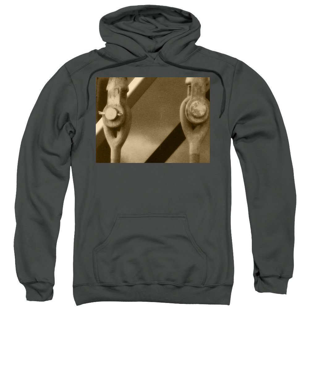 Two Turnbuckles Sweatshirt featuring the photograph Turned On By Turnbuckles by Kym Backland