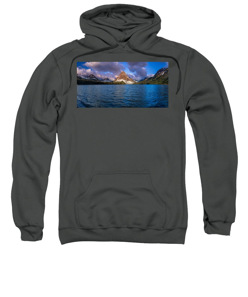 Two Medicine Lake Sweatshirt featuring the photograph Two Medicine Morning Panorama by Greg Nyquist