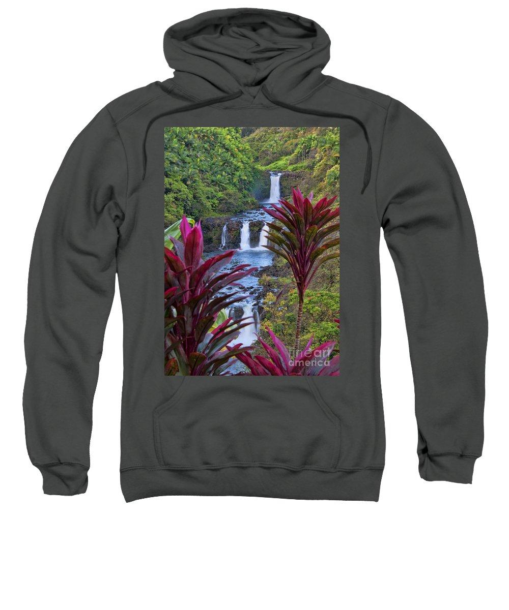Umauma Falls Sweatshirt featuring the photograph Umauma Falls Big Island Hawaii by Gary Beeler