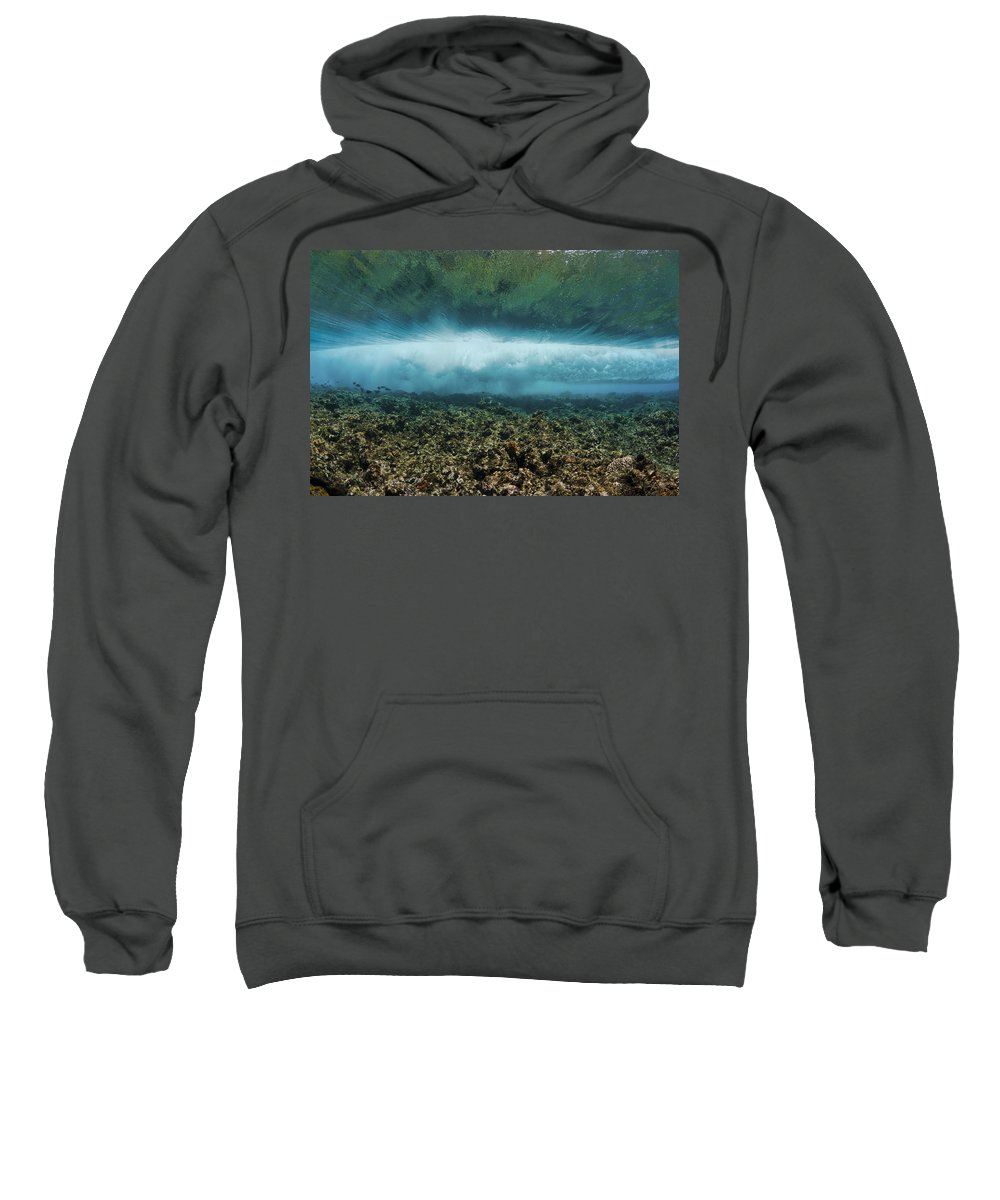 Blue Sweatshirt featuring the photograph Under An Ocean Wave by Dave Fleetham