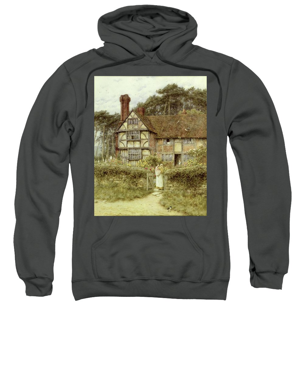 Cottage; Mother And Child; Gate; Rural Scene; Country; Countryside; Home; Path; Garden; Wildflowers; Roses; Picturesque; Idyllic; Daughter; Timber Frame; Half-timbered; Sunflowers; House; Female Sweatshirt featuring the painting Unstead Farm Godalming by Helen Allingham