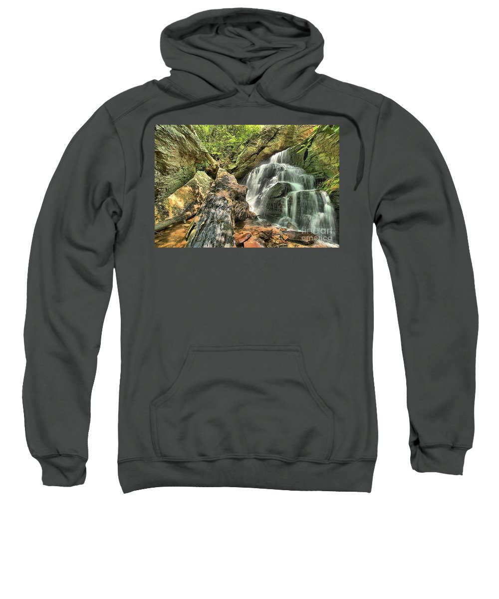 Hanging Rock State Park Sweatshirt featuring the photograph Upper Cascade Hidden Falls by Adam Jewell