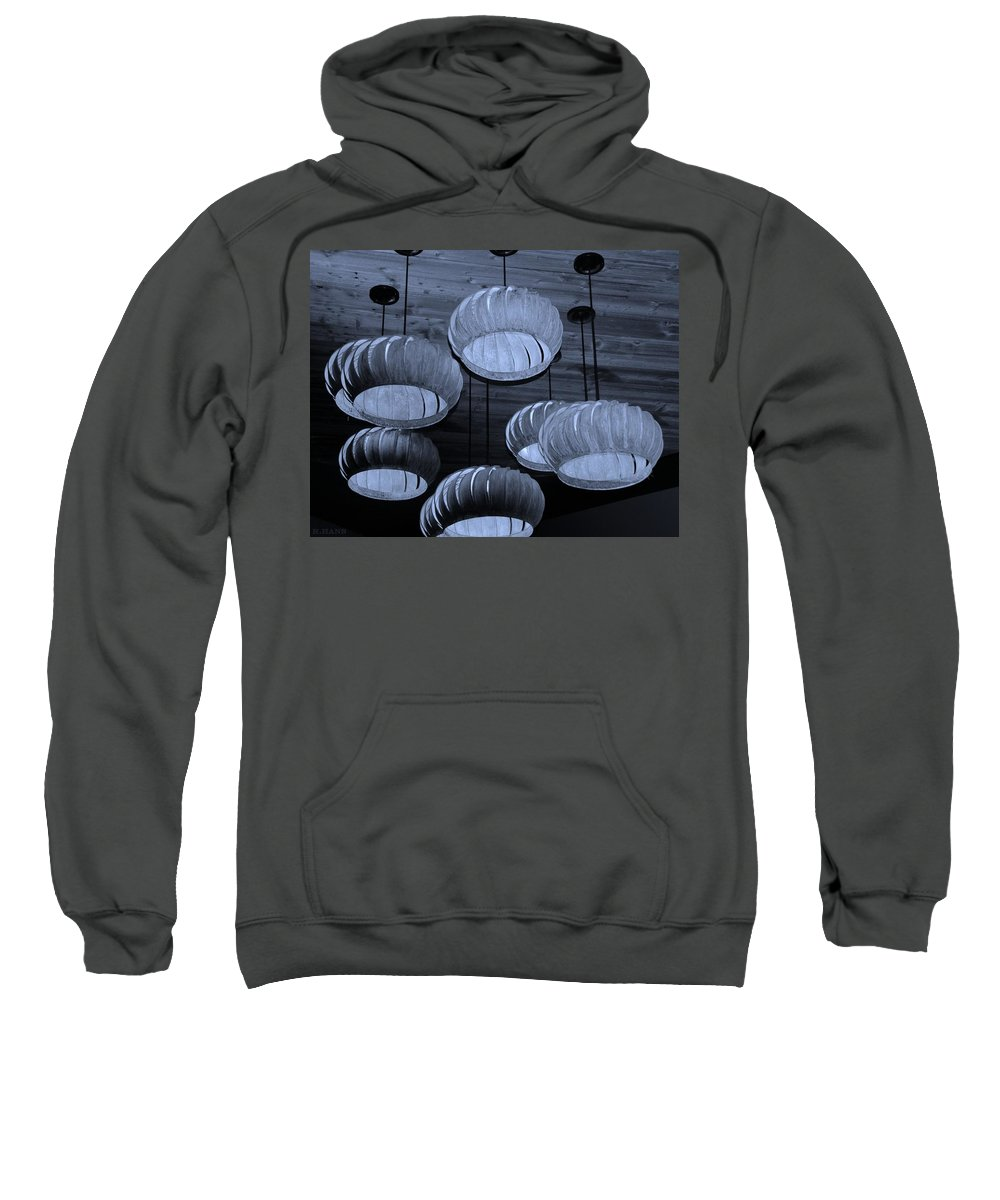 Lights Sweatshirt featuring the photograph Vented Lights In Cyan by Rob Hans