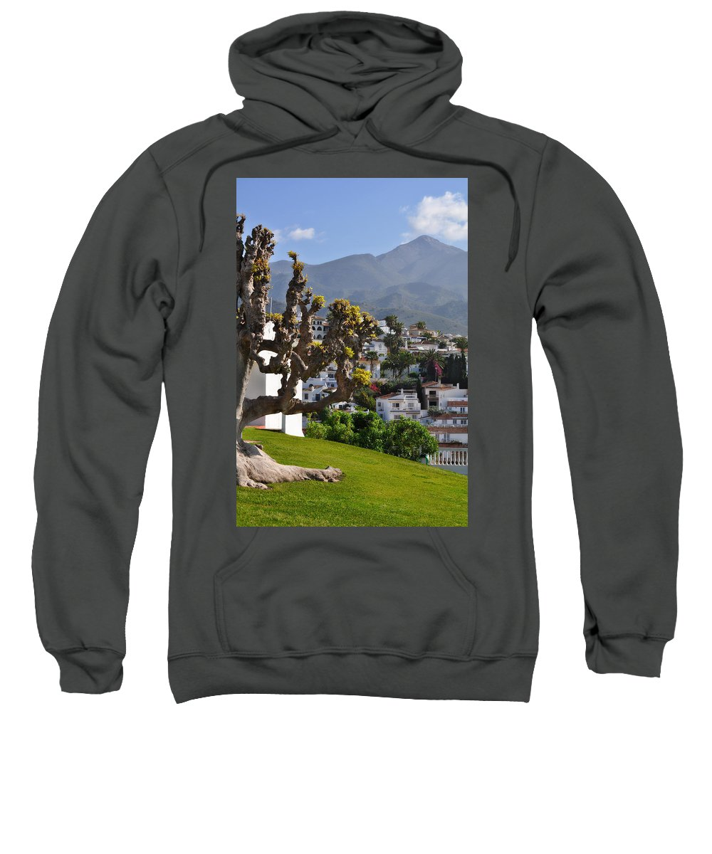 View From The Parador Nerja Sweatshirt featuring the photograph View From The Parador Nerja by Mary Machare